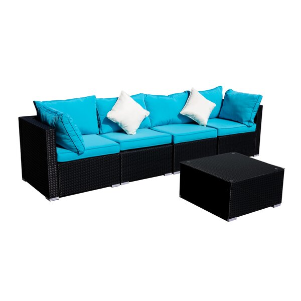 Troy Patio Furniture 5 Piece Rattan Sectional Seating Group with Cushions by Longshore Tides