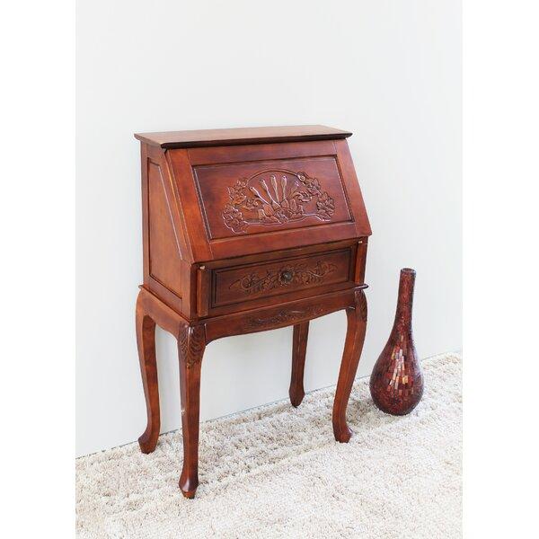 Windsor Hand Carved Wood Secretary Desk by International Caravan