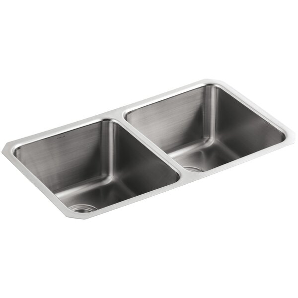 Undertone 31-3/4 L x 18 W x 9-1/2 Under-Mount Double-Equal Bowl Kitchen Sink by Kohler