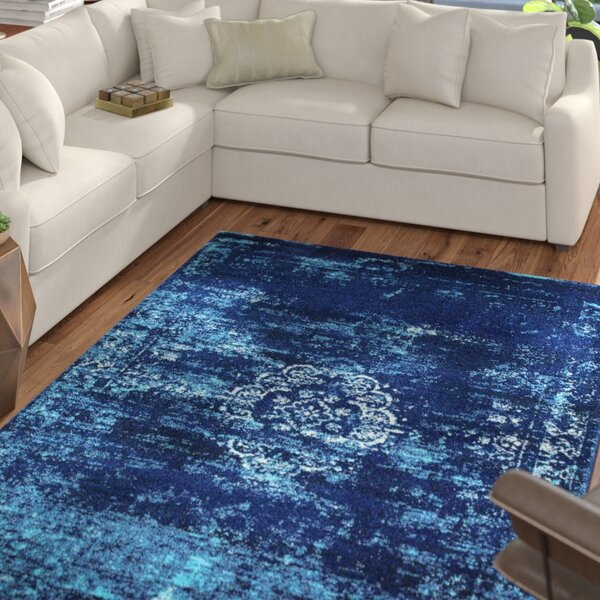 Burdett Blue Area Rug by Mercury Row