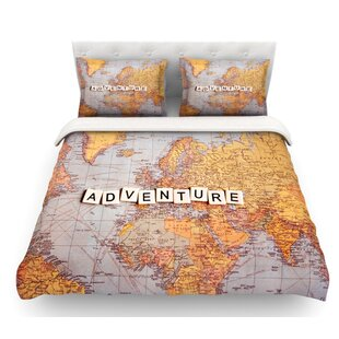 adventure map by sylvia cook world featherweight duvet cover