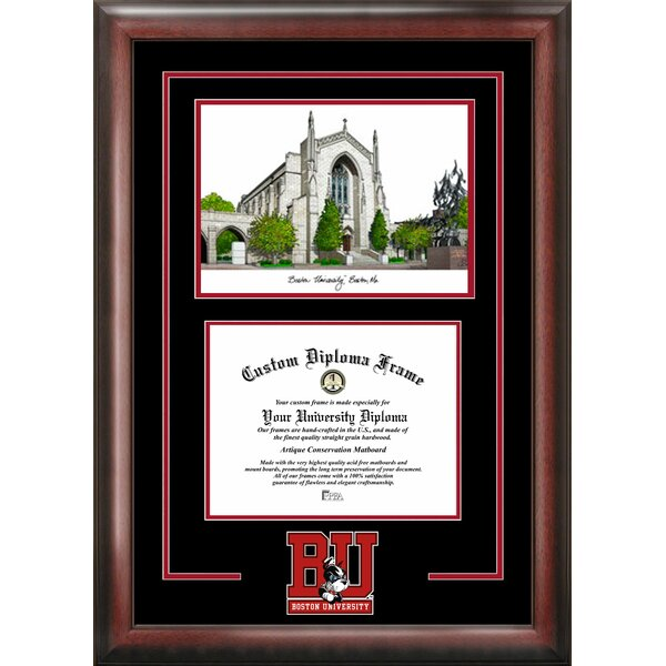 NCAA Boston University Spirit Graduate Diploma with Campus Images Lithograph Picture Frame by Campus Images