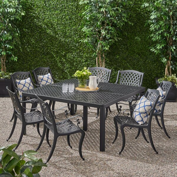 Ashleigh Outdoor 9 Piece Dining Set by Darby Home Co