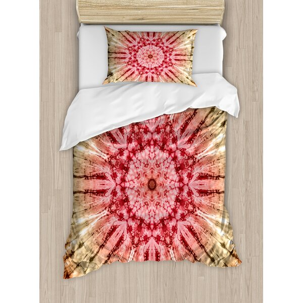 Tie Dye Gradient Circle Batik Pattern with Spectral Pleats and Distressed Spots Image Duvet Set by Ambesonne
