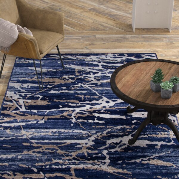 Pierce Blue/White Area Rug by Williston Forge