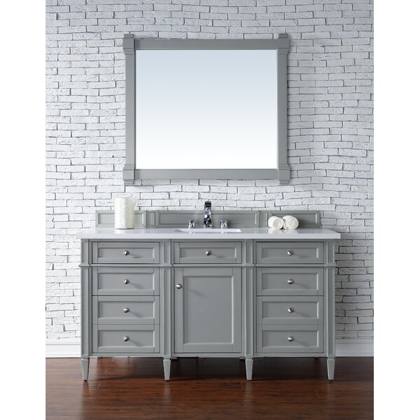 Deleon Traditional 60 Single Urban Gray Stone Top Bathroom Vanity Set by Darby Home Co