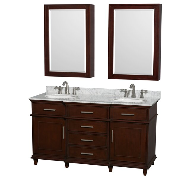 Berkeley 60 Double Dark Chestnut Bathroom Vanity Set with Medicine Cabinet by Wyndham Collection