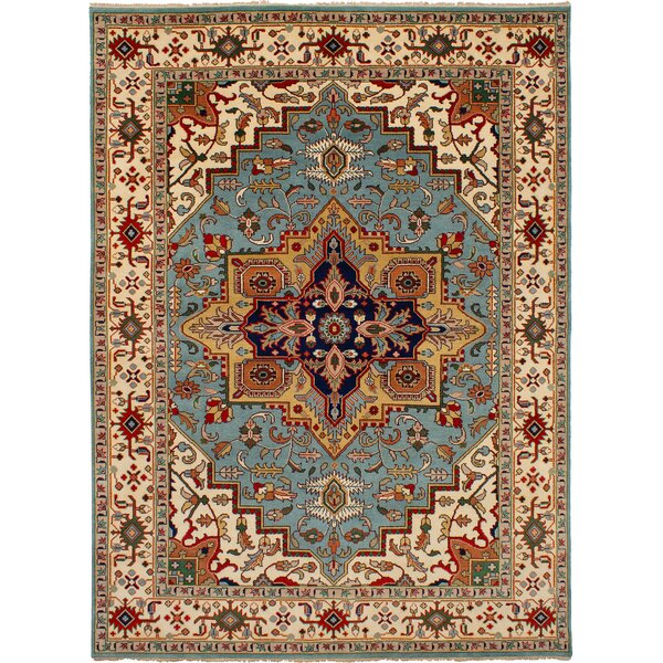 One-of-a-Kind Doerr Hand-Knotted Wool Baby Blue Area Rug by Isabelline