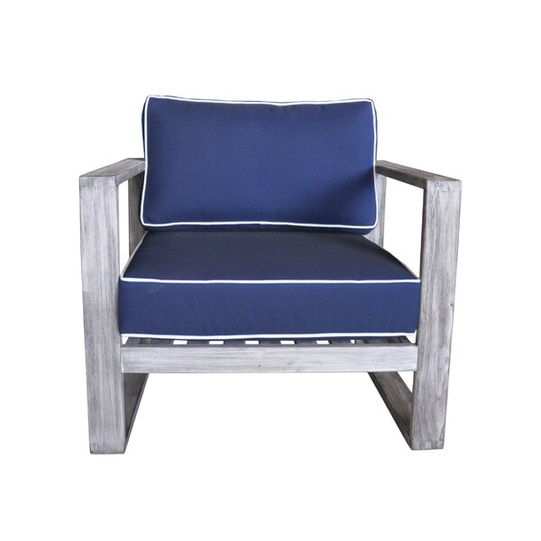 Asther Modern Outdoor Teak Patio Chair with Sunbrella Cushions by Longshore Tides Longshore Tides