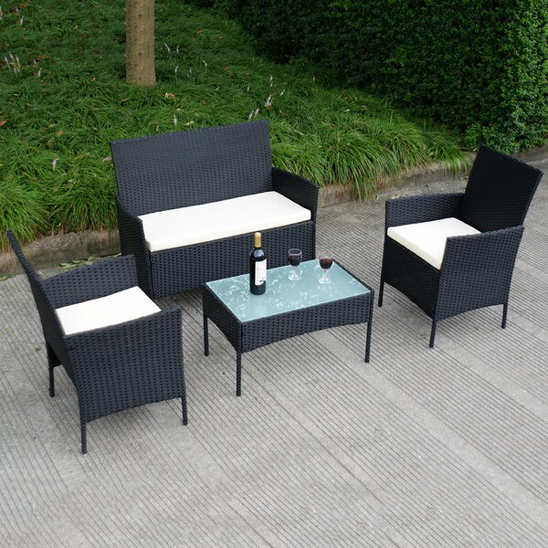 Meadow 4 Piece Rattan Sofa Set with Cushions by Ebern Designs