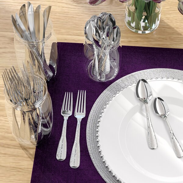 Jett 45 Piece Country Hammered 18/10 Stainless Steel Flatware Set by Langley Street