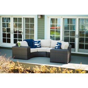 Darden 4 Piece Rattan Sectional Seating Group with Cushions by Rosecliff Heights