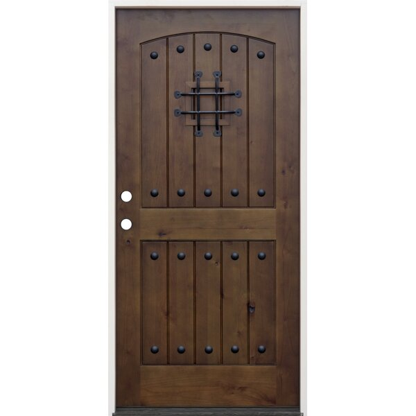 CreativeEntryways Rustic 2 Panel V Groove Ready To Install Wood Prehung Front  Entry Door | Wayfair