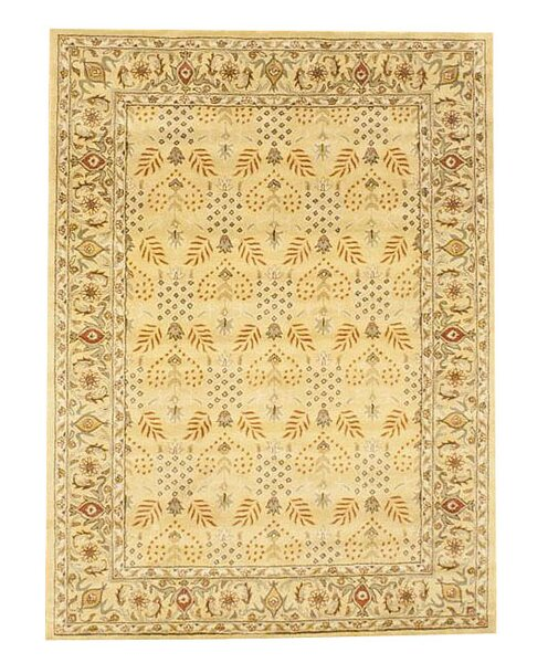 Hand-Tufted Gold and Ivory Area Rug by Herat Oriental