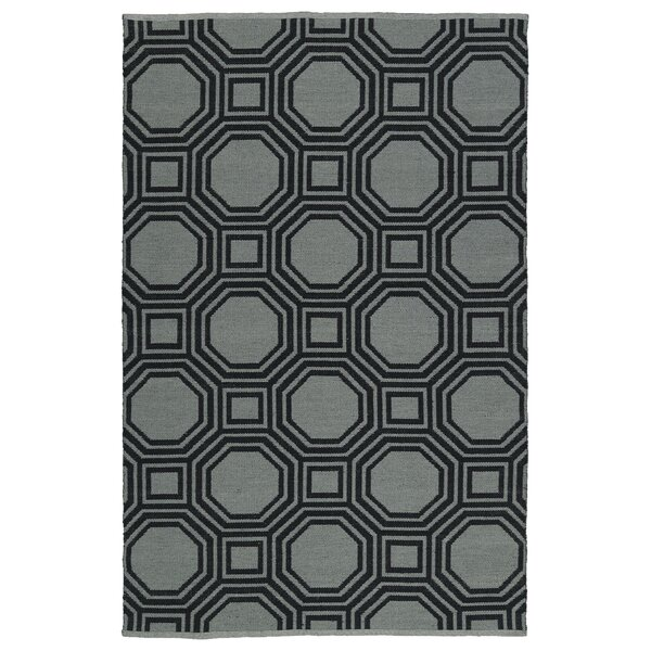 Littleton Gray/Black Indoor/Outdoor Area Rug by Wrought Studio