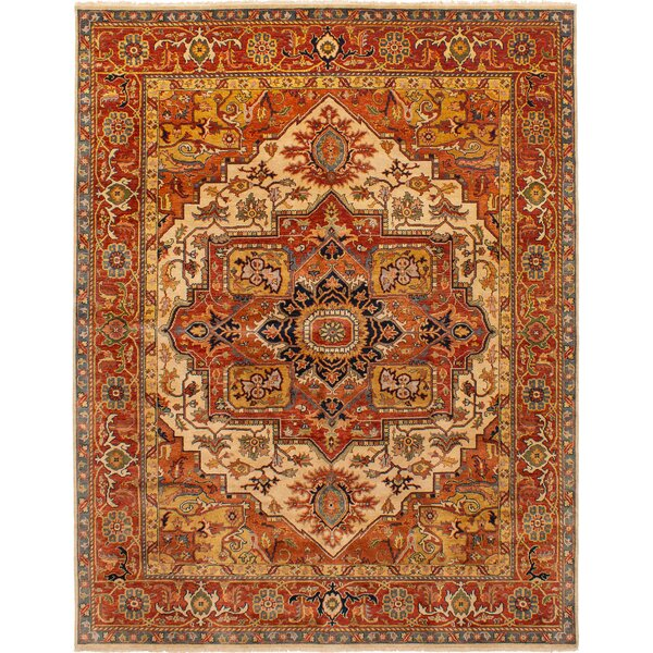 One-of-a-Kind Bertie Hand-Knotted Wool Dark Copper Area Rug by World Menagerie