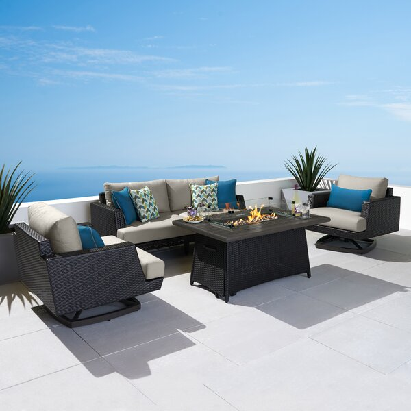 4 Piece Sunbrella Sofa Seating Group with Cushions by Highland Dunes