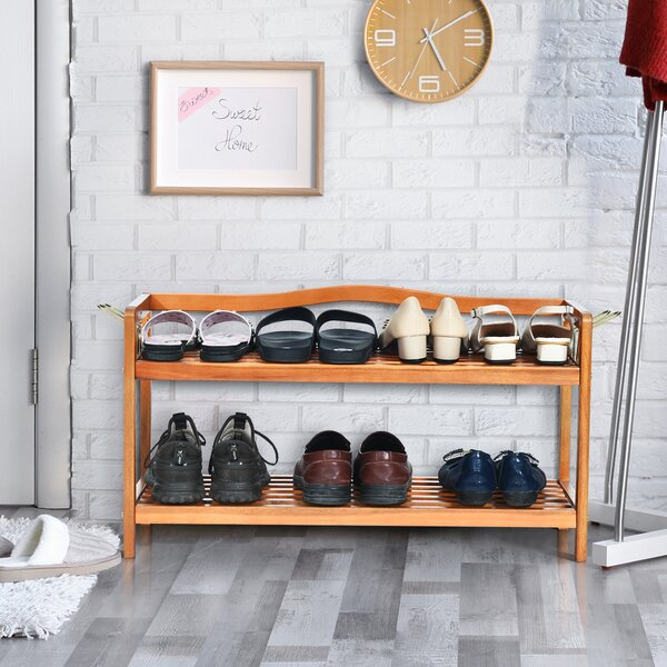 2-Tier Wood Freestanding Heavy-duty 8 Pair Shoe Rack
