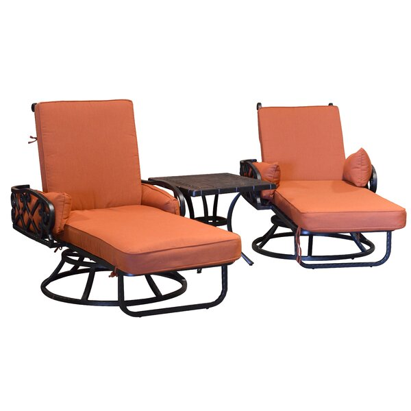 Pineville Swivel Sun Lounger Set with Cushion and Table by Darby Home Co Darby Home Co