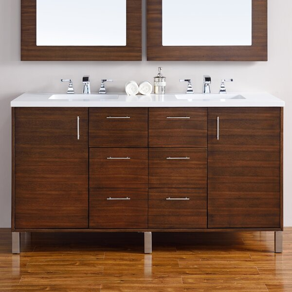 Cordie Modern 60 Double American Walnut Hardwood Base Bathroom Vanity Set by Orren Ellis