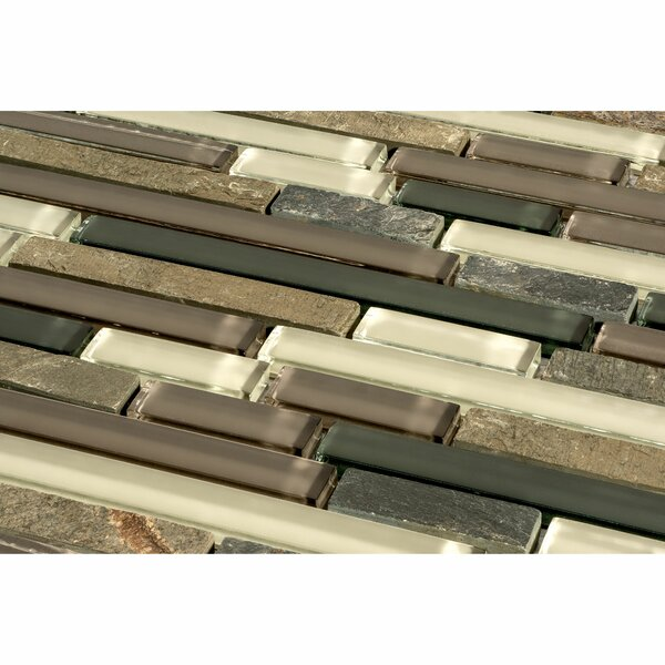 Glacier Mountain Random Sized Piano Natural Stone and Glass Mosaic Tile in Slate by Giorbello