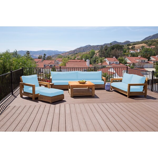 Crelake Deluxe 10 Piece Teak Sofa Seating Group with Sunbrella Cushions by Foundry Select
