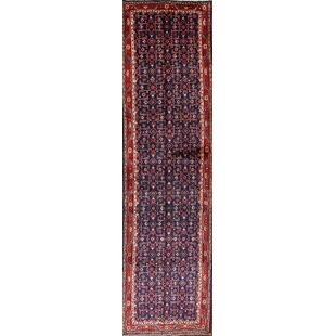 Find a One-of-a-Kind Barbosa Traditional Malayer Hamadan Persian Hand-Knotted Runner 3'5 x 12'6 Wool Blue/Burgundy Area Rug By Isabelline