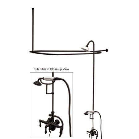 Vintage Double Handle Wall Mounted Clawfoot Tub Faucet With Diverter And Handshower By Kingston Brass