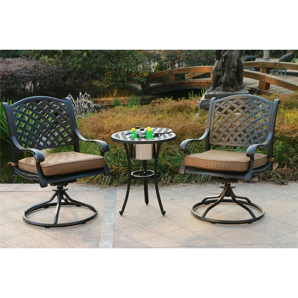 Banuelos Aluminum 3 Piece Bistro Set with Cushions by Canora Grey