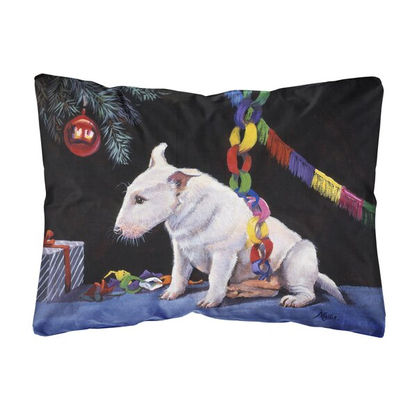 Sheilds Bull Terrier Under the Christmas Tree Fabric Indoor/Outdoor Throw Pillow by Winston Porter
