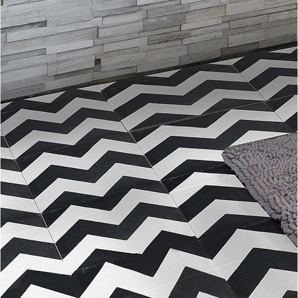MeaLu Chevron 8 x 8 Cement Field Tile in Black/White (Set of 4) by Rustico Tile & Stone