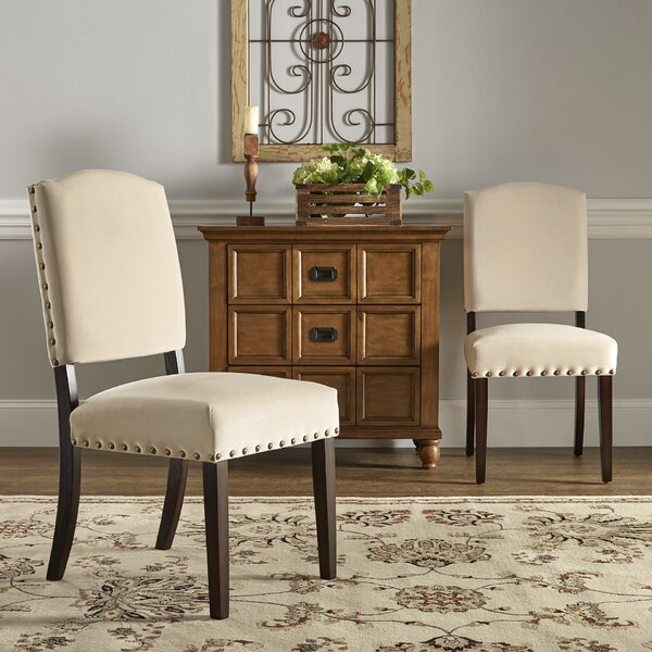 Pompon Velvet Nailhead Upholstered Dining Chair (Set of 2) by Lark Manor