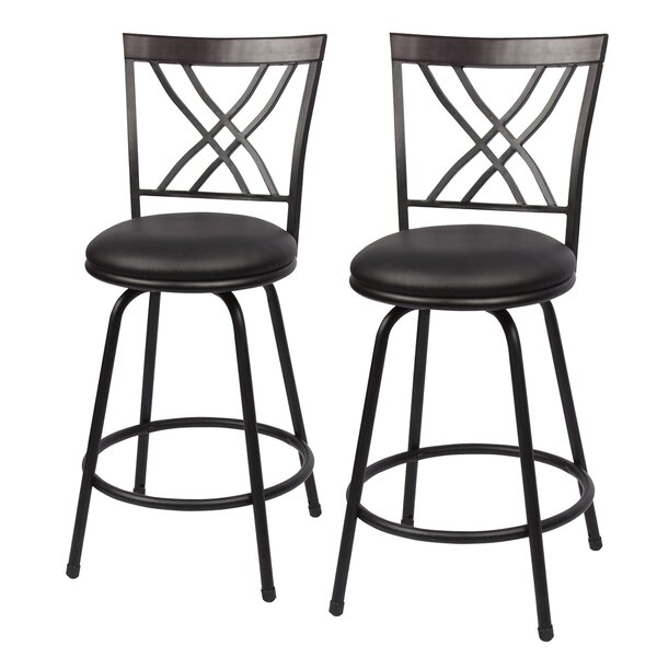Stalvey Adjustable Height Swivel Bar Stool (Set of 2) by Winston Porter