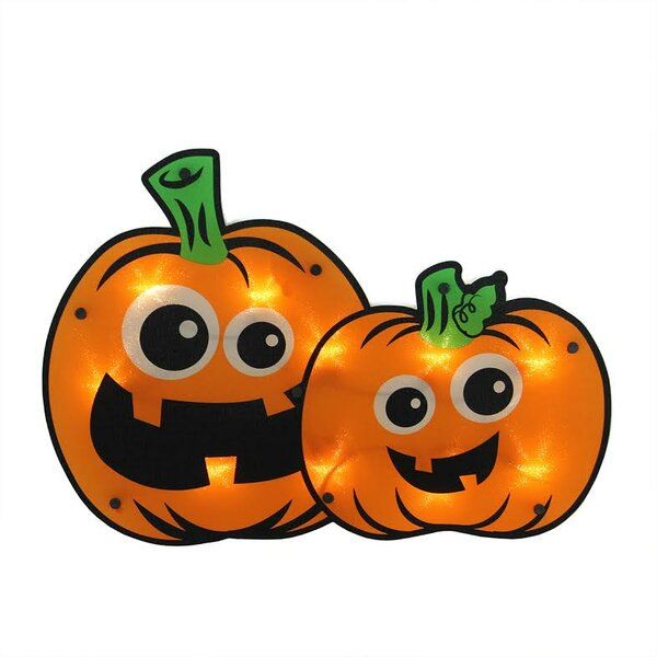 Lighted Jack-o-lantern Pumpkin Couple Halloween Window Silhouette Decoration by Northlight Seasonal
