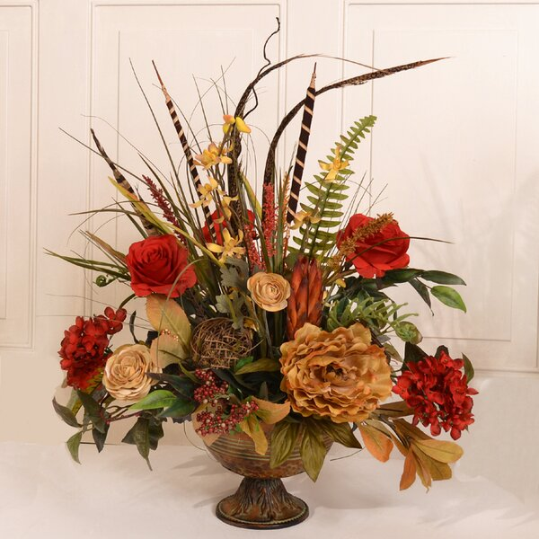 Floral Home Decor Silk Flower Arrangement With Feathers