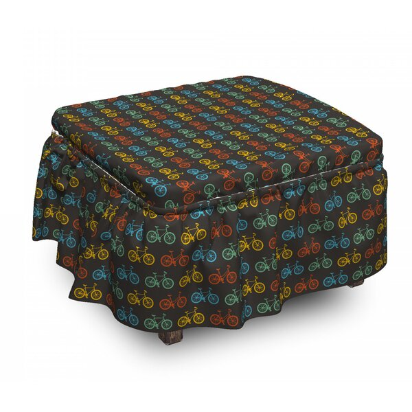 Bicycle Boys And Girls Parade 2 Piece Box Cushion Ottoman Slipcover Set By East Urban Home