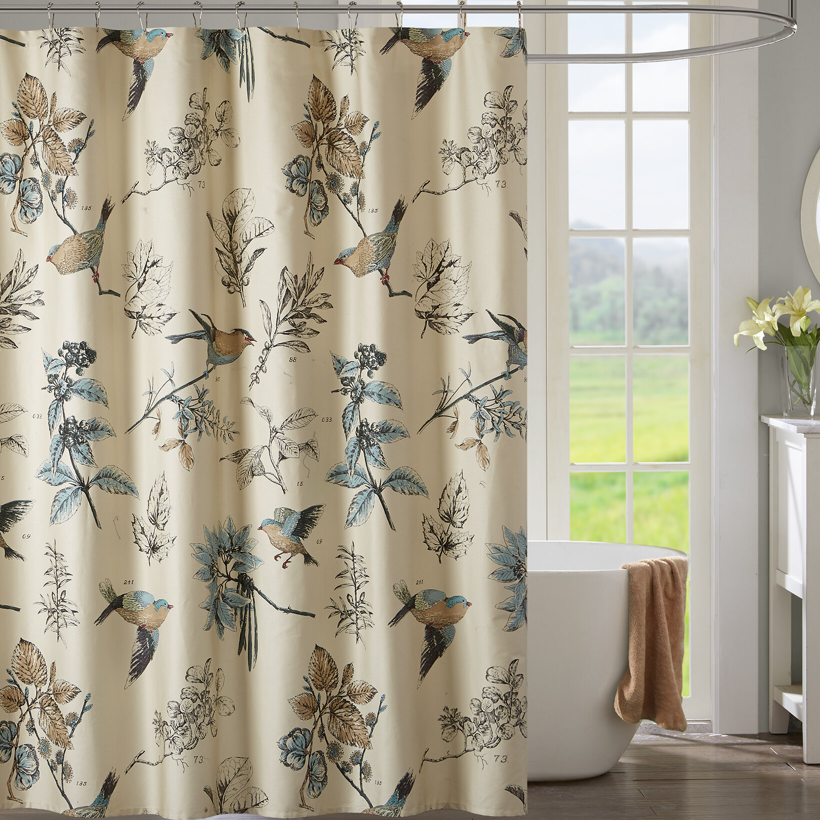 product with white curtain of market curtains bird set world botanical and burnout sheer do xxx birds