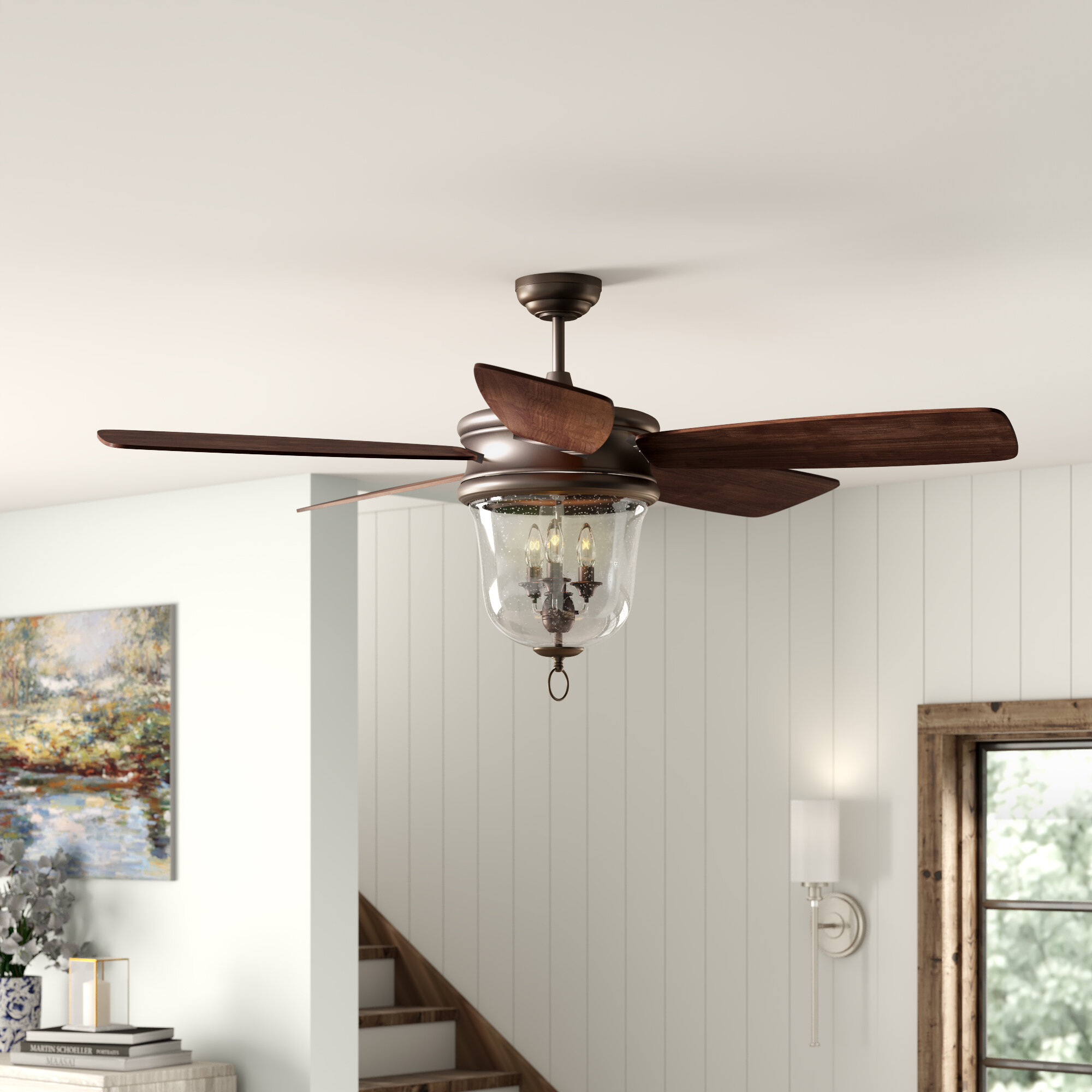 Alcott Hill 60 Collinson 5 Blade Led Standard Fan With Remote Light Kit Included Reviews Wayfair