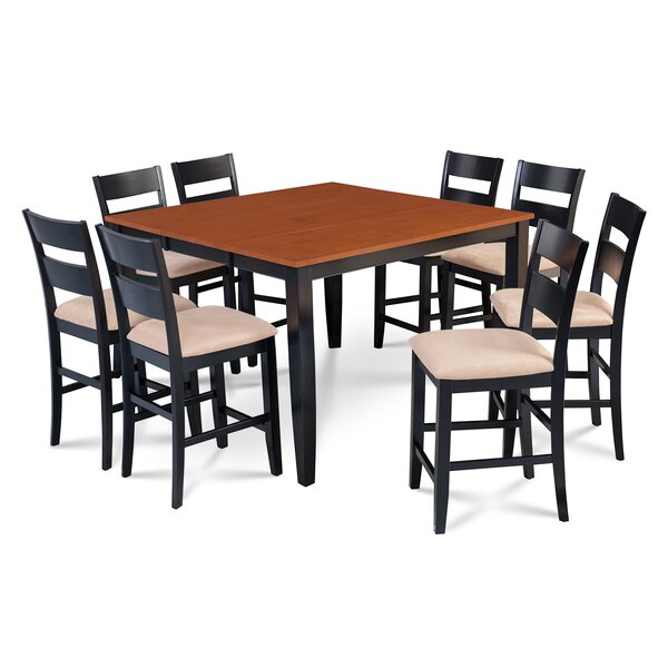 Charlestown 9 Piece Counter Height Solid Wood Dining Set by Alcott Hill