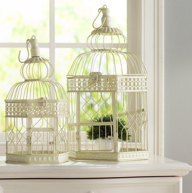 2 Piece Metal Decorative Bird Cage Set