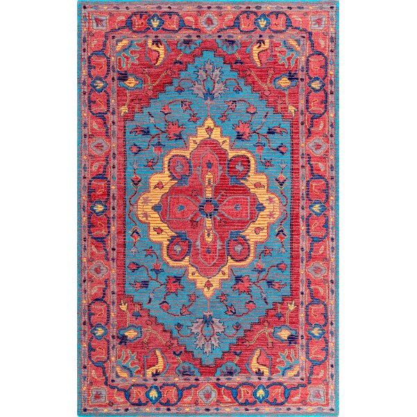 Tammi Hand-Tufted Wool Red/Blue Area Rug by Bungalow Rose
