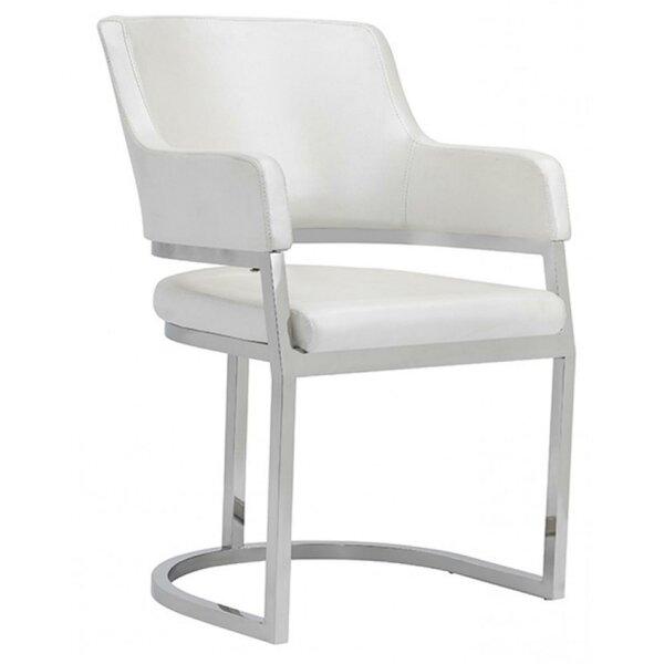 Torbay Upholstered Metal Arm Chair in White by Orren Ellis Orren Ellis