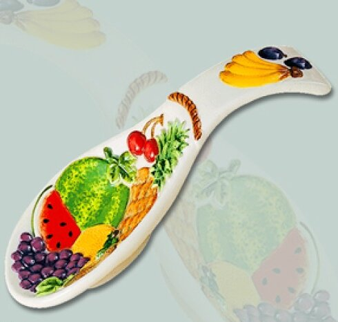 Fruit Paradise Decorative Ceramic 3D Spoon Rest/Trivet by ABC Home Collection