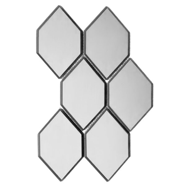 Echo Honeycomb 3.5 x 5.125 Glass Mosaic Tile in Silver by Abolos