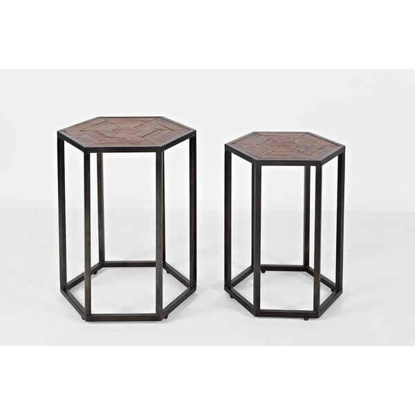 Constantino Wood and Metal Hexagonal End Tables (Set of 2) by Union Rustic