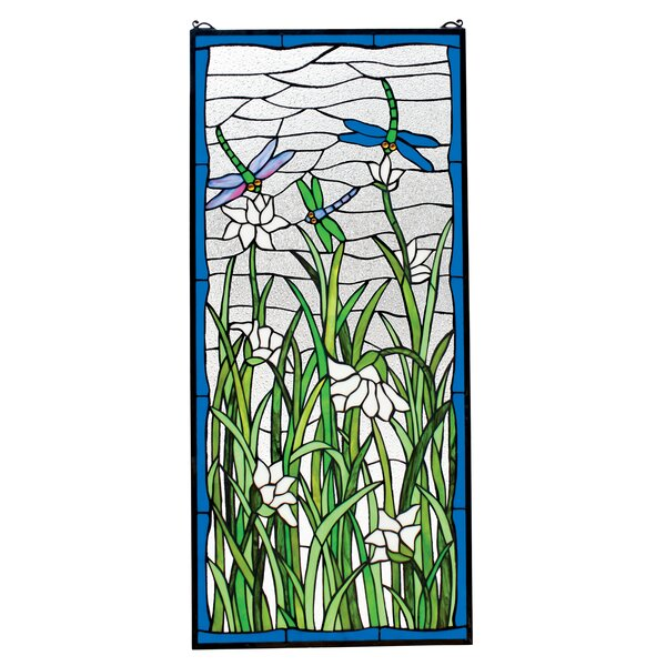 Dragonflies Dance Stained Glass Window by Design Toscano