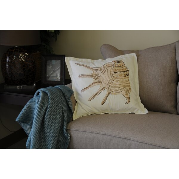 Hendershot Conch Embroidery Cotton Throw Pillow by Highland Dunes
