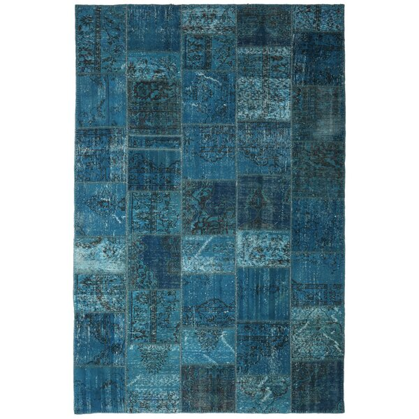 One-of-a-Kind Corrie Overdyed Patchwork Hand-Knotted Wool Blue Area Rug by Isabelline
