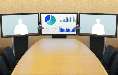 Moble Telepresence Stand with Monitor Mount for 50 - 90 Displays by VFI