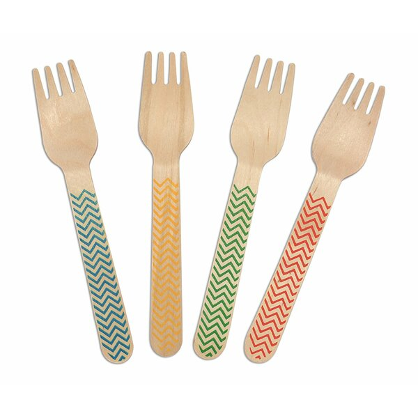Weatherall Zig Zag Print Birchwood Compostable Fork (Set of 600) by Latitude Run